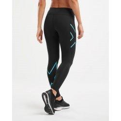 2XU - Colanti de compresie pentru femei Bonded Mid-Rise Tights - negru albastru scuba