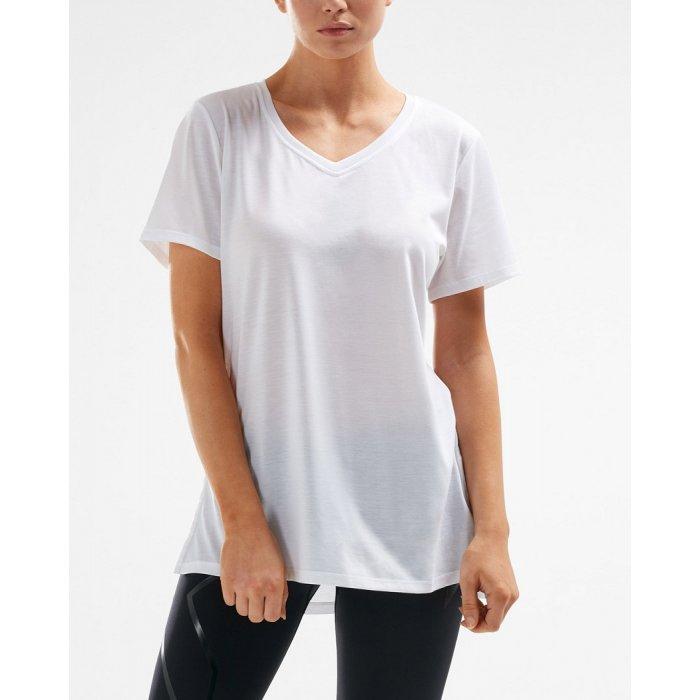2XU - Tricou pentru femei Urban V Neck High Low Tee - alb