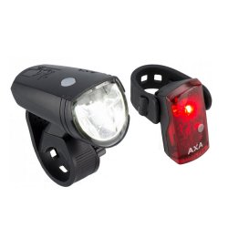 AXA - Set lumini pentru bicicleta (Far + stop) Greenline, 15 lux USB, 1 led - negru