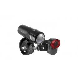 AXA - Set lumini pentru bicicleta (Far + stop) Compactline 35 lux, USB, 1 led - negru