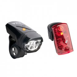 AXA - Set lumini pentru bicicleta (Far + stop) Greenline, 30 lux USB, 2 leduri - black