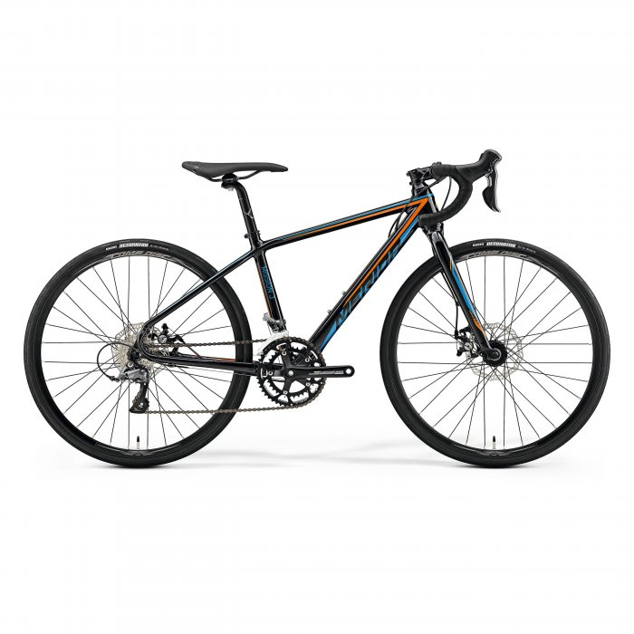 "Merida - bicicleta copii cu roti 26"" cursiera - Mission J.Road - neagra-albastru-portocaliu"