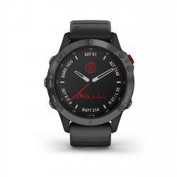 Garmin - Fenix 6 PRO Solar - rama gri slate cu curea silicon neagra - ceas inteligent premium cu GPS pentru sport