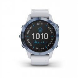 Garmin - Fenix 6 PRO Solar - rama albastru mineral cu curea silicon alba - ceas inteligent premium cu GPS pentru sport