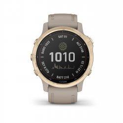 Garmin - Fenix 6s PRO Solar - rama aurie cu curea gri nisip - ceas inteligent premium cu GPS pentru sport