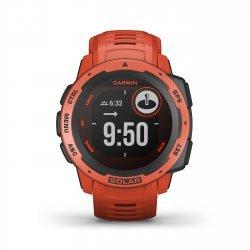 Garmin - Instinct Solar - rosu Flame Red - ceas inteligent cu GPS cu functii avansate pentru sport si incarcare solara
