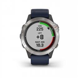 Garmin - quatix 6 - rama argintie cu curea de silicon bleumarin Captain Blue - ceas inteligent premium cu GPS cu functii avansate pentru sport si navigatie - 47mm diametru