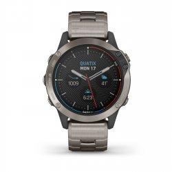 Garmin - quatix 6 Sapphire Titanium - ceas inteligent premium cu GPS cu functii avansate pentru sport si navigatie - 47mm diametru