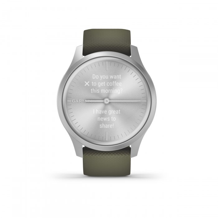 Garmin Vivomove Style - carcasa argintie - bratara verde