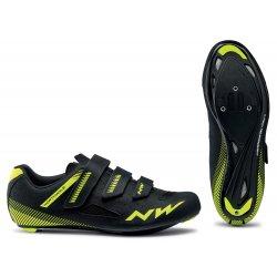 Northwave Core 3S - pantofi pentru ciclism sosea - negru galben fluo