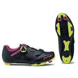 Northwave Razer W - pantofi pentru ciclism MTB - negru fuchsia galben fluo