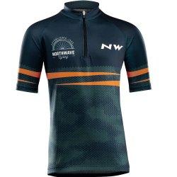 Northwave Origin Junior - tricou cu maneca scurta pentru ciclism pentru copii - bleumarin-portocaliu