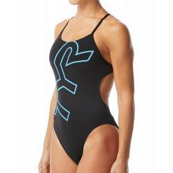 TYR - Womens 1 piece swimsuit - Big Logo Cutoutfit - black-blue