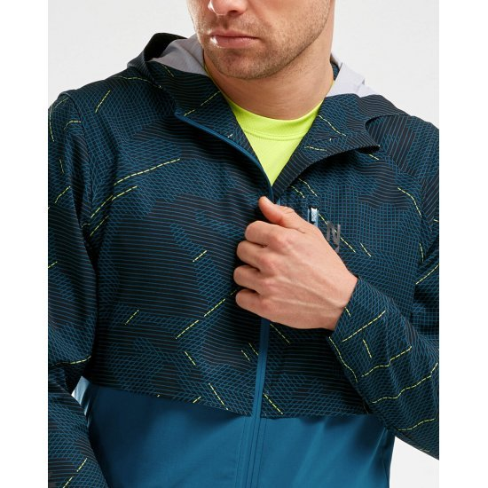 2XU Mens GHST Woven 2 in 1 Jacket Blue Sports Running Full Zip Hooded