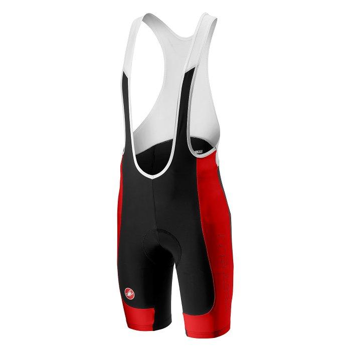 Castelli Evoluzione 2 pantaloni scurti cu bretele ciclism - negru-rosu