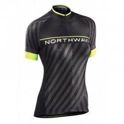 Northwave Jersey Logo3 W short sleeves negru/galben fluo