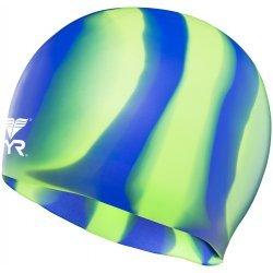TYR casca inot silicon multicolor albastru-verde