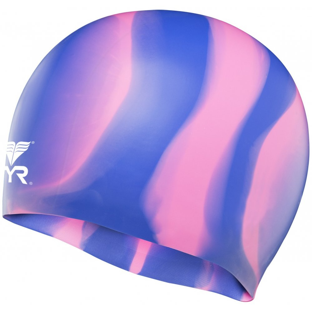TYR casca inot silicon multicolor albastru-roz
