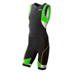 TYR Trisuit  Competitor cu fermoar in fata negru-verde