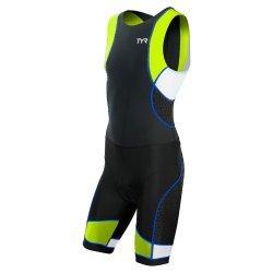 TYR Trisuit Competitor cu fermoar la spate negru-lime-albastru