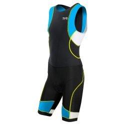 TYR Trisuit Competitor cu fermoar la spate negru-albastru-galben