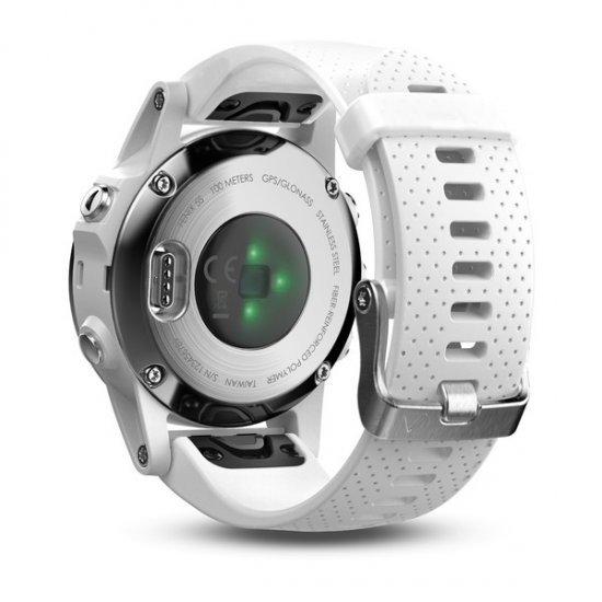 Garmin Fenix 5S Silver cu curea alba Carrara
