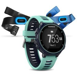 Garmin Forerunner 735xt albastru-turcoaz Bundle Triathlon - ceas cu GPS pentru alergare, bicicleta, inot, triatlon si alte sporturi