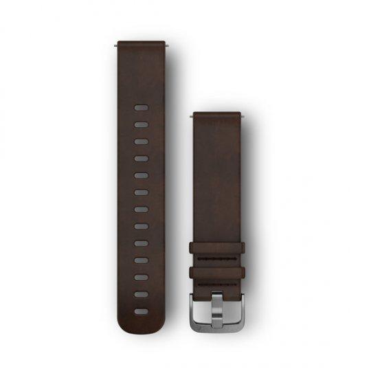 Garmin Quick Release 20 Vivoactive 3/ Vivomove HR/ Forerunner 245 645 curea piele L Quick Release maro-inchis